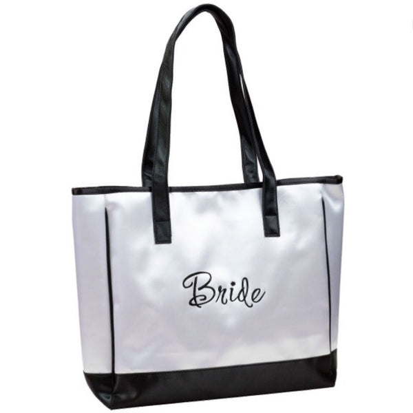 """Bride"" White Satin Tote Bag-Tote Bags-Here Comes The Bling™"