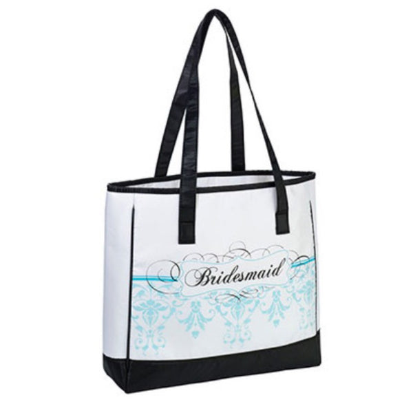 """Bridesmaid"" Aqua Damask Tote Bag-Tote Bags-Here Comes The Bling™"