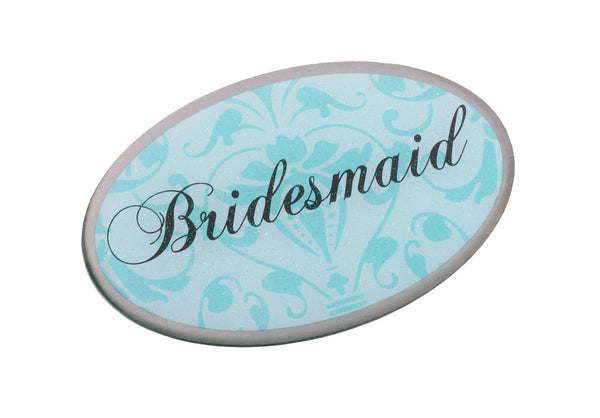 Bridesmaid Pin -Oval Aqua-Pin-Here Comes The Bling™