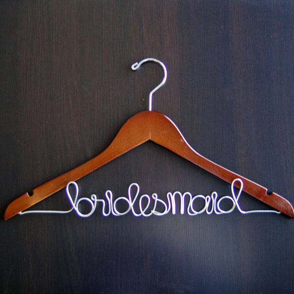 Bridesmaid Script Hanger (Available in 5 Colors)-Hangers-Here Comes The Bling™