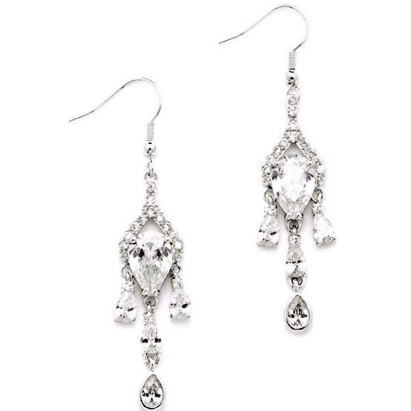 Brilliant CZ Pear Chandelier Earrrings with Bezel Set Teardrops-Earrings-Here Comes The Bling™
