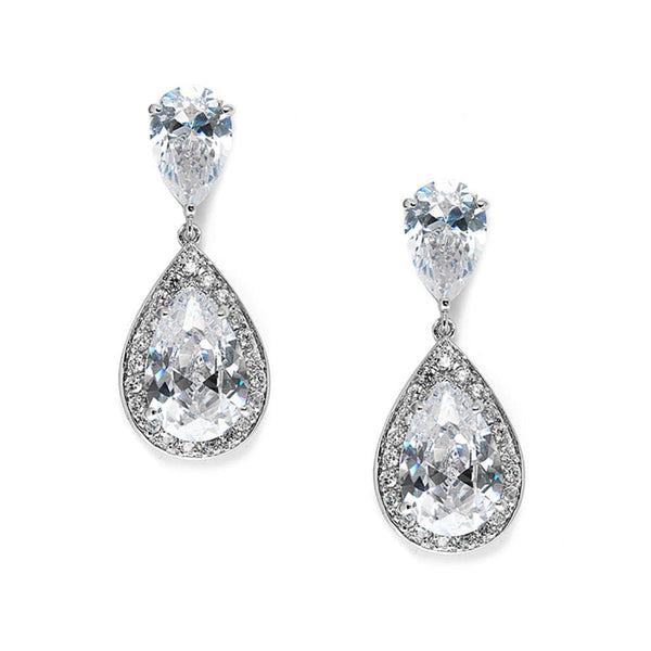 Brilliant Double Teardrop Wedding Earrings-Earrings-Here Comes The Bling™