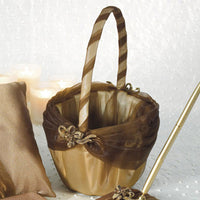 Bronze Elegance Flower Girl Basket-Flower Basket-Here Comes The Bling™