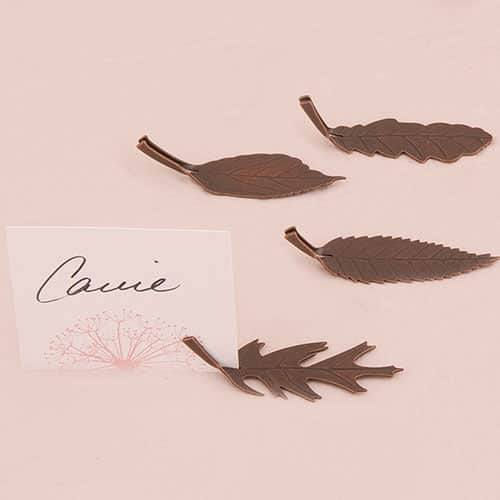 Bronze Finish Leaf Shaped Place Card Holders (Pack of 8)-Place Card Holder-Here Comes The Bling™