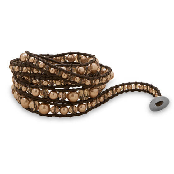 Brown Crystal Pearl Leather Wrap Bracelet-Bracelets-Here Comes The Bling™