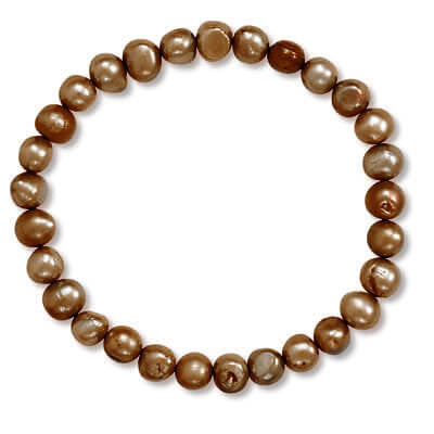 Brown Cultured Freshwater Pearl Stretch Bracelet-Bracelets-Here Comes The Bling™
