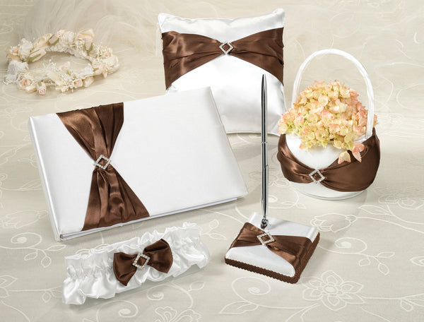Brown Satin Bow Complete Wedding Set-Decor-Sets-Here Comes The Bling™