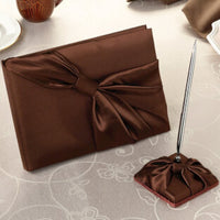 Brown Satin Guest Book with Pen Set-Guest Books-Here Comes The Bling™
