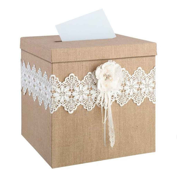 Burlap and Lace Card Box-Card Box-Here Comes The Bling™