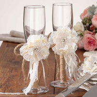 Burlap and Lace Shabby Chic Toasting Glasses-Toasting Flutes-Here Comes The Bling™