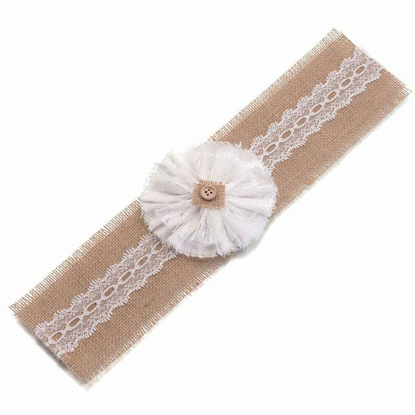 Burlap Bands w/Flower (set of 4)-Decor-Table-Here Comes The Bling™