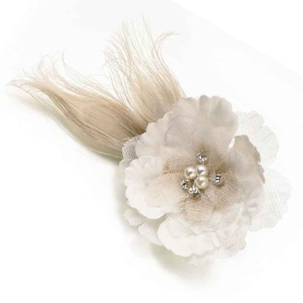 Burlap & Lace Feather Flower Clip/Pin-Clips-Here Comes The Bling™