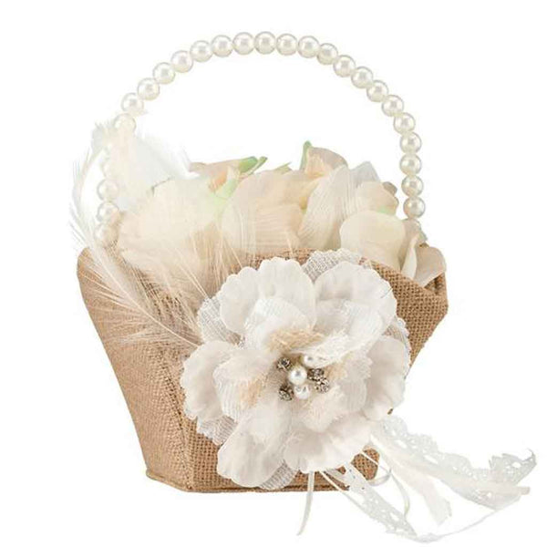 Burlap & Lace Flower Basket-Flower Basket-Here Comes The Bling™