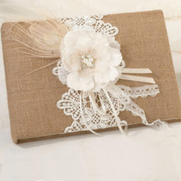 Burlap & Lace Guest Book-Guest Books-Here Comes The Bling™