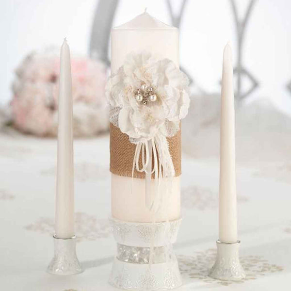 Burlap & Lace Unity Candle Set-Unity Candle-Here Comes The Bling™