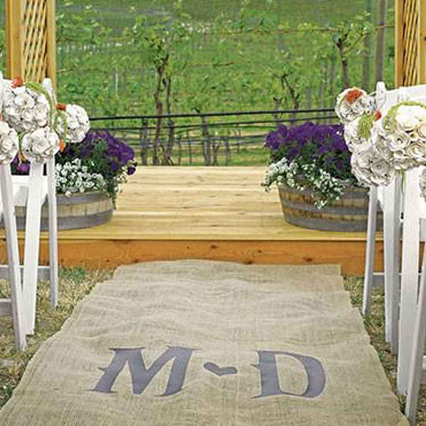 Burlap Vineyard Heart Monogramed Aisle Runner-Aisle Runner-Here Comes The Bling™