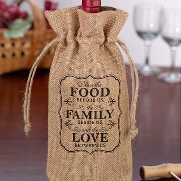 Burlap Wine Bag - Food & Family-Wine Bags-Here Comes The Bling™