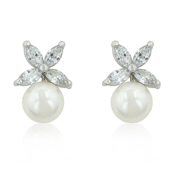 Butterfly CZ and Pearl Stud Earrings-Earrings-Here Comes The Bling
