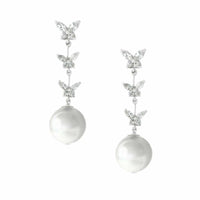 Butterfly Dangle CZ and Pearl Drop Bridal Earrings-Earrings-Here Comes The Bling