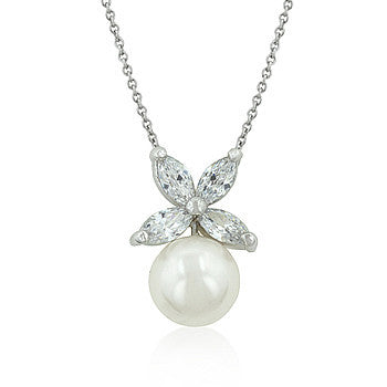 Butterfly White Pearl Pendant-Necklaces-Here Comes The Bling