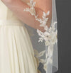 Gold and Silver Embroidered Floral Lace Fingertip Wedding Veil