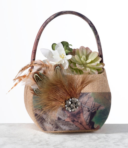 Camouflage Flower Basket-Flower Basket-Here Comes The Bling™