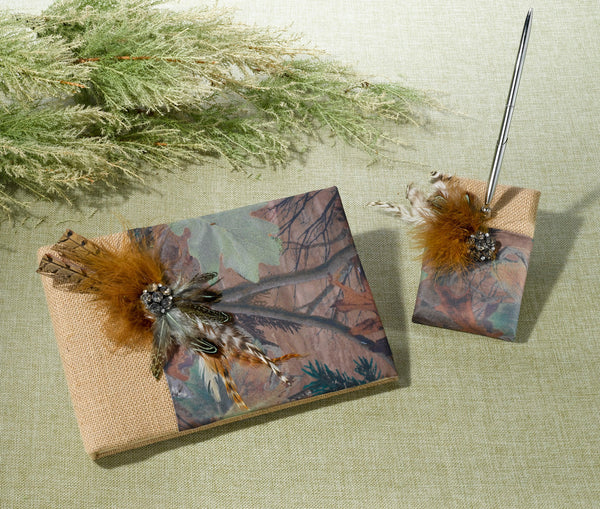 Camouflage Guest Book & Pen Set-Guest Books-Here Comes The Bling™