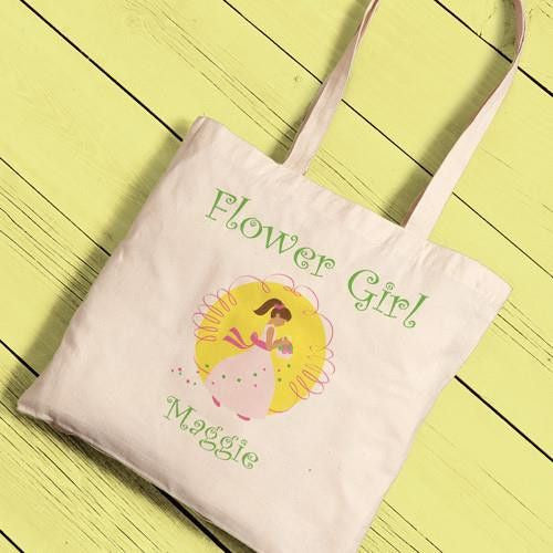 Canvas Tote - Flower Girl-Girls-Bags-Here Comes The Bling™