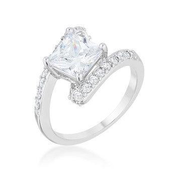 Caroline 2.3ct CZ Rhodium Statement Ring-Rings-Here Comes The Bling
