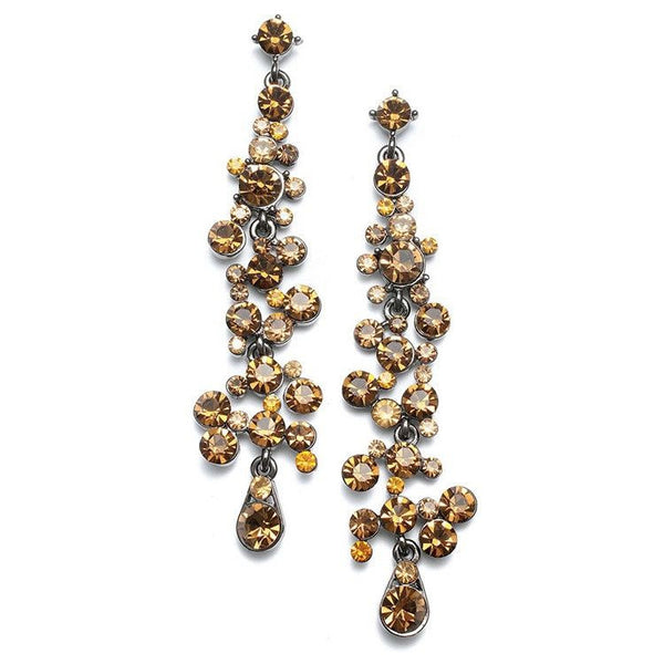 Cascading Smoked Topaz Crystal Earrings-Earrings-Here Comes The Bling™