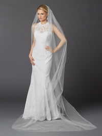 Cathedral Length One Layer Cut Edge Wedding Veil-Veils-Here Comes The Bling™