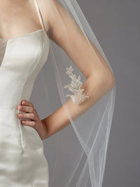 Cathedral Wedding Veil with Silver Embroidered Beaded Lace Appliques & Pencil Edge-Veils-Here Comes The Bling™