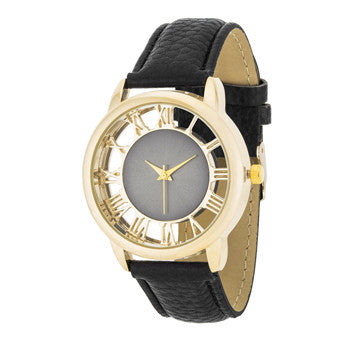 Cecelia Gold Boyfriend Watch With Black Leather Band-Watches-Here Comes The Bling