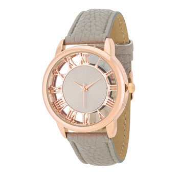 Cecelia Rose Gold Boyfriend Watch With Grey Leather Band-Watches-Here Comes The Bling