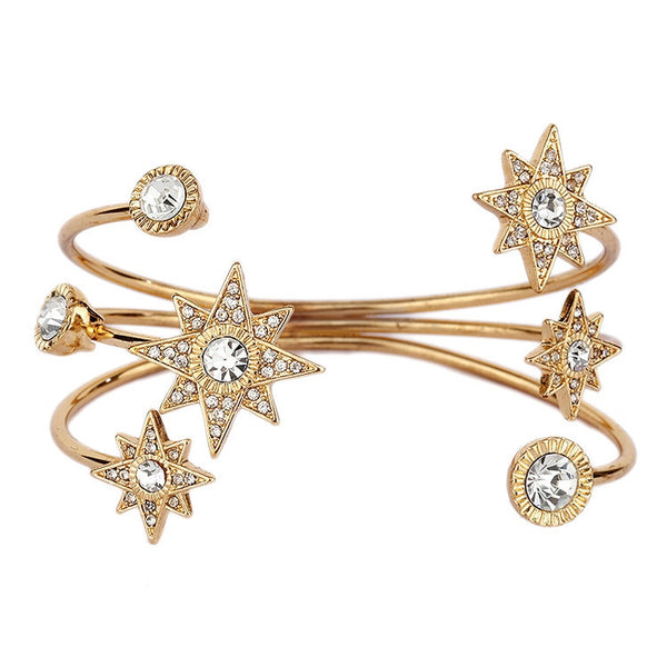 Celestial Stars Crystal Cuff Bracelet in Gold-Bracelets-Here Comes The Bling™