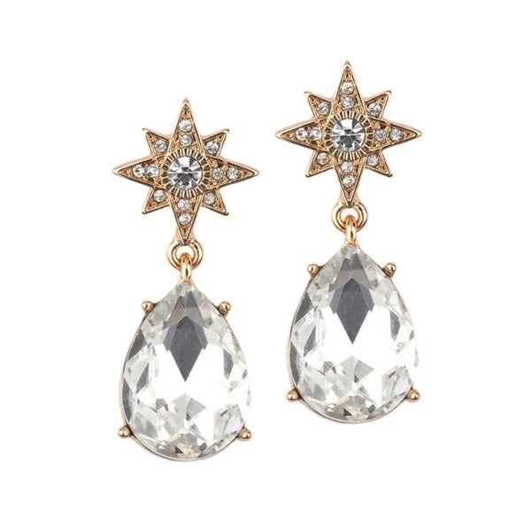 Celestial Stars Earrings with Bold Teardrops in Gold-Earrings-Here Comes The Bling™