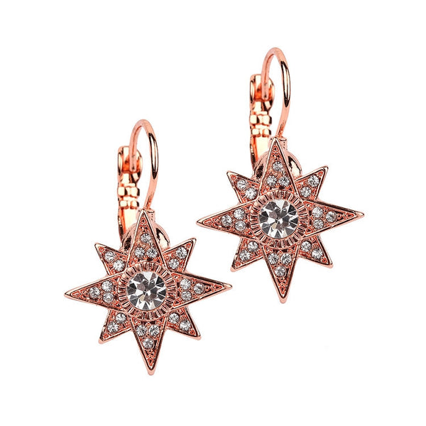 Celestial Stars Gold Euro Wire Earrings in Rose Gold-Earrings-Here Comes The Bling™