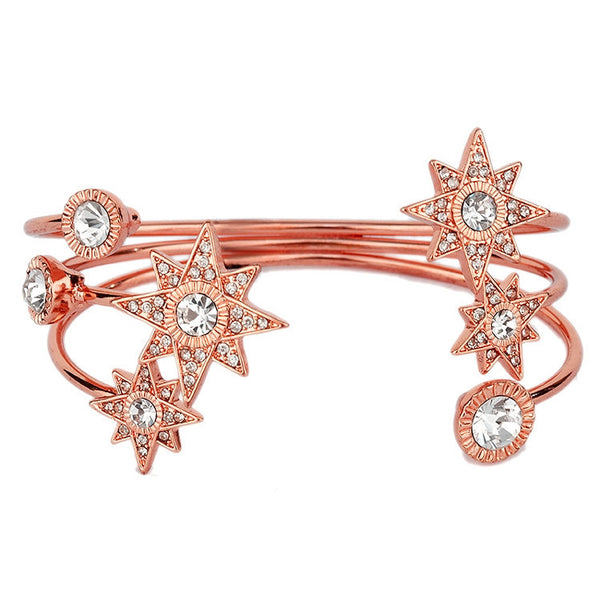 Celestial Stars Rose Gold Crystal Cuff Bracelet-Bracelets-Here Comes The Bling™
