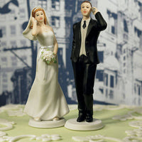 """Cell Phone Fanatics"" Bride and Groom Cake Toppers ( Select From 7 Hair Colors )-Cake Toppers-Here Comes The Bling™"