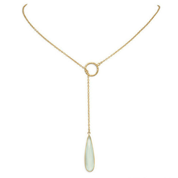Chalcedony Drop 14K Gold Lariat Necklace-Necklaces-Here Comes The Bling™