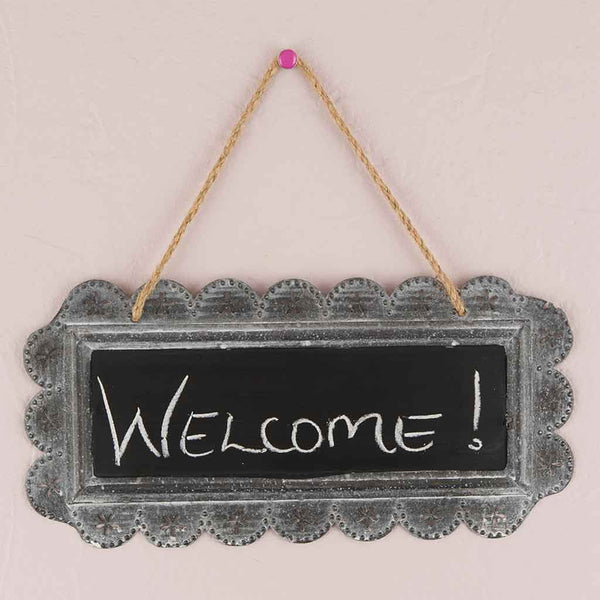 Chalkboard Sign with Tin Scalloped Frame-Decor-Sign-Here Comes The Bling™