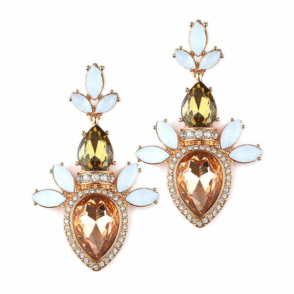Champagne Cluster Statement Earrings-Earrings-Here Comes The Bling™