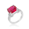 Charlene 6.2ct Ruby CZ Rhodium Classic Statement Ring-Rings-Here Comes The Bling