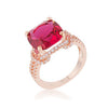 Charlene 6.2ct Ruby CZ Rose Gold Classic Statement Ring-Rings-Here Comes The Bling