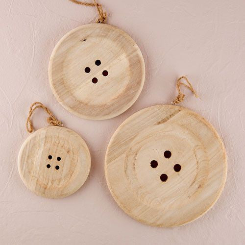 Charming Wooden Button Decoration with Natural Finish - Small White-Decor-Hanging-Here Comes The Bling™