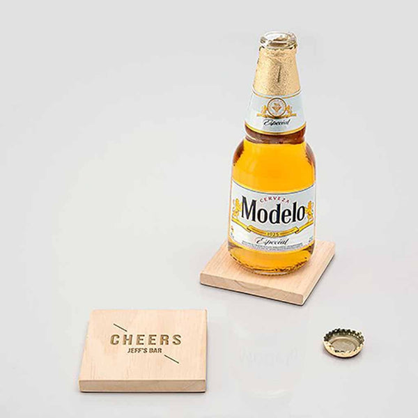 """Cheers"" Natural Wood Coaster With Built-in Bottle Opener (Set of 4)-Coasters-Here Comes The Bling™"