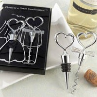 """Cheers to a Great Combination"" Wine Set-Favors-Bottle Stopper-Here Comes The Bling™"