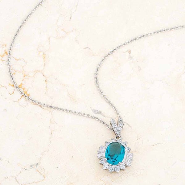 Chrisalee 3.2ct Aqua CZ Classic Drop Necklace-Necklaces-Here Comes The Bling