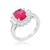 Chrisalee Cocktail Ruby CZ Rhodium Classic Ring-Rings-Here Comes The Bling™