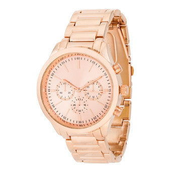Chrono Rose Gold Metal Watch-Watches-Here Comes The Bling
